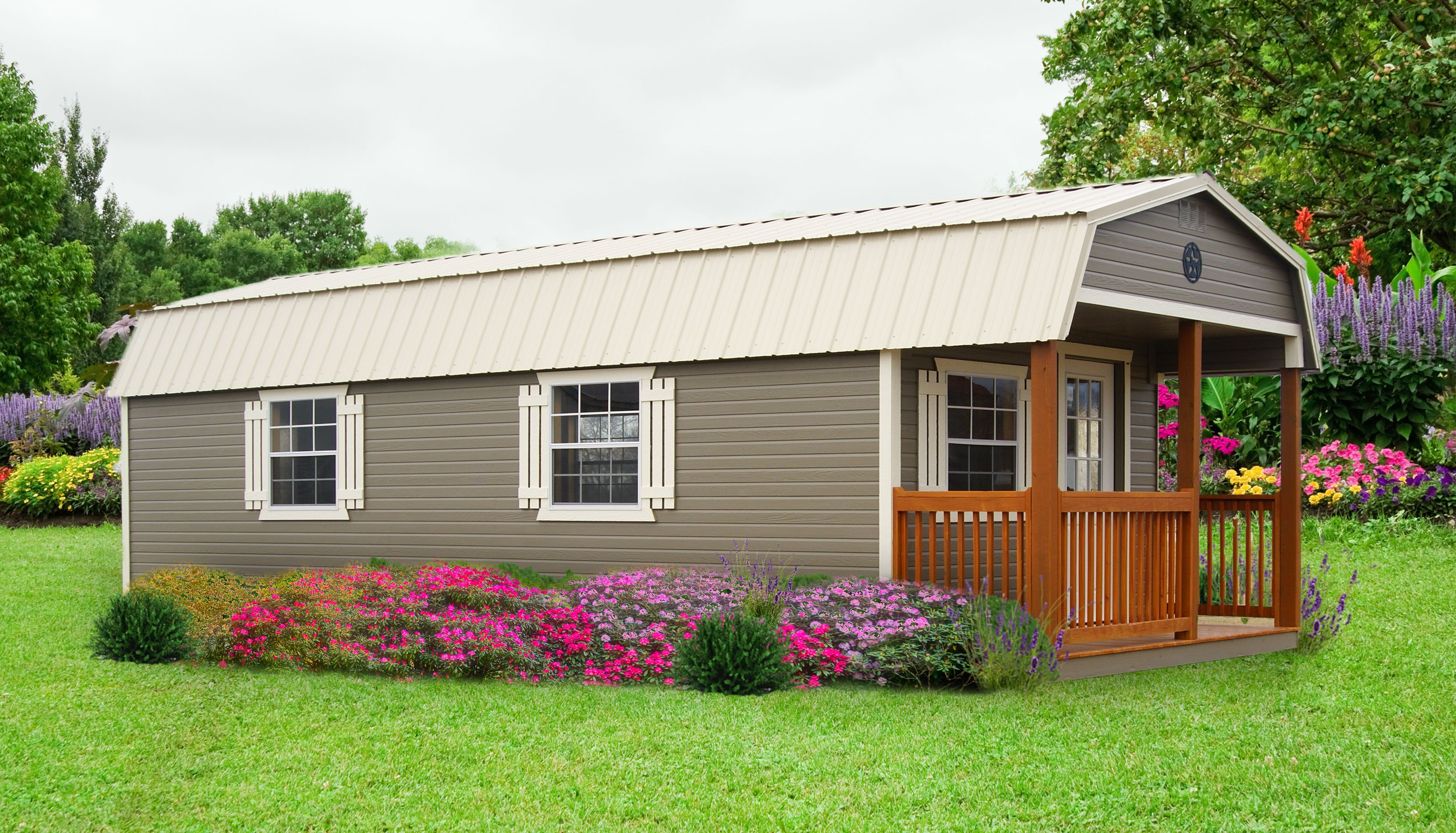 Painted Dutchlap Lofted Cabin